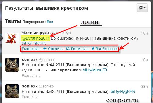 Функции Твиттер