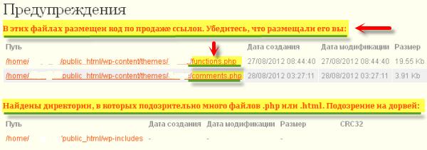 Файлы с уязвимостями в отчёте